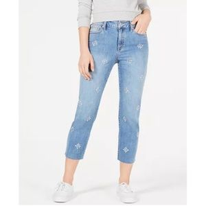 NWT: REWASH Light Wash Embellished Raw-Hem Jeans 9